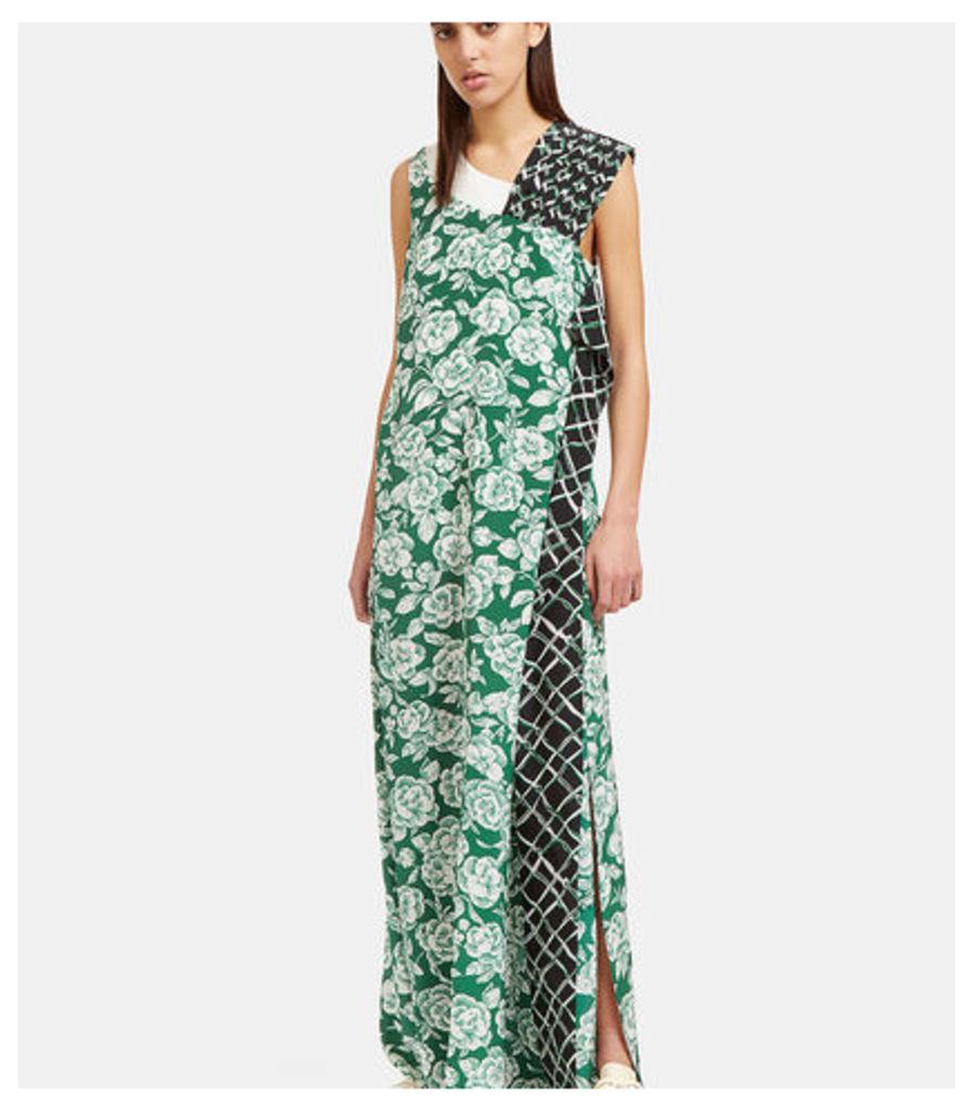 Floral Print Pleated Shoulder Dress