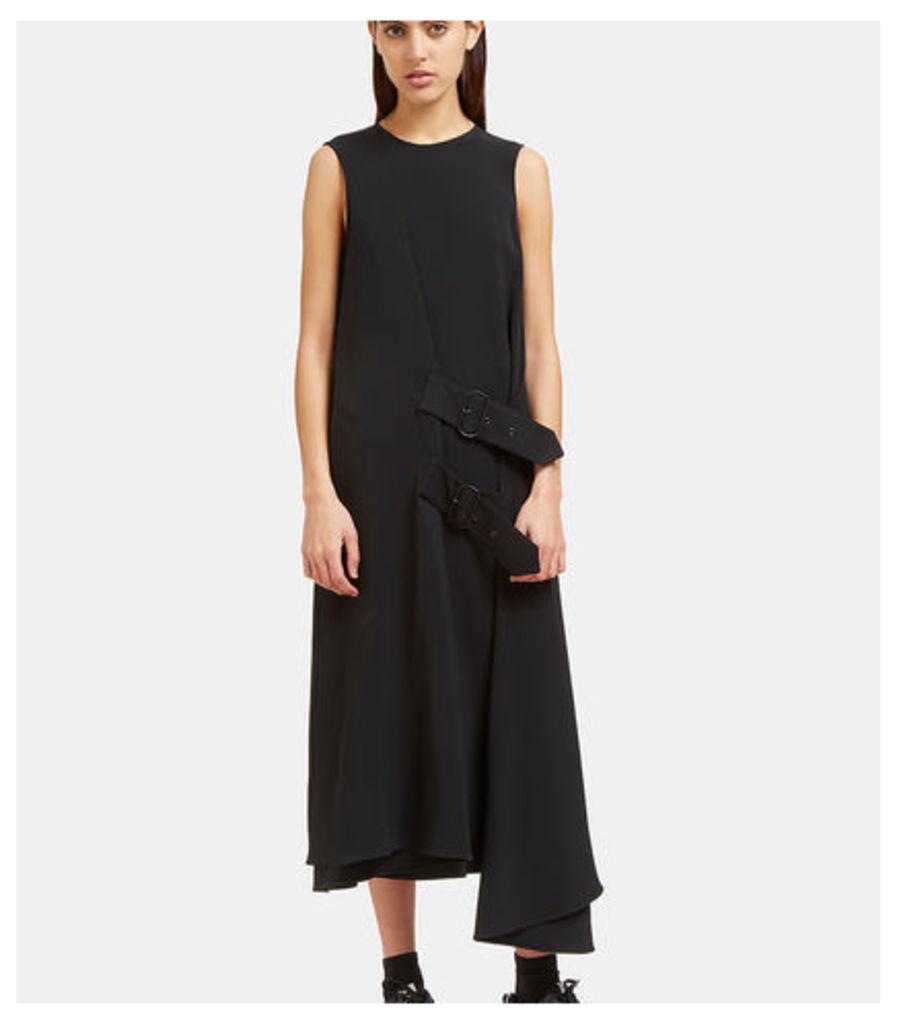 Scilla Long Crêpe Buckled Wrap Dress