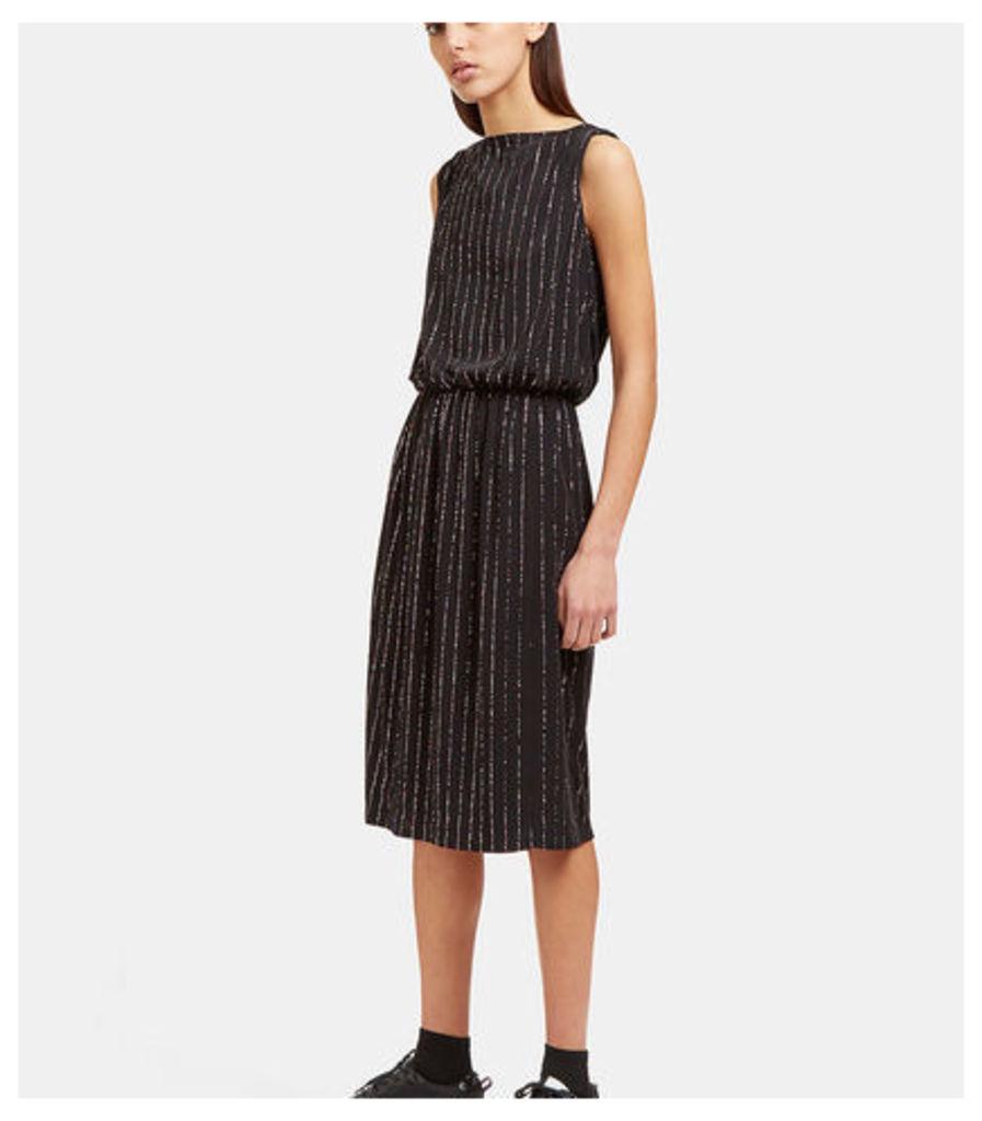 Mid-Length Glittered Pinstripe Dress