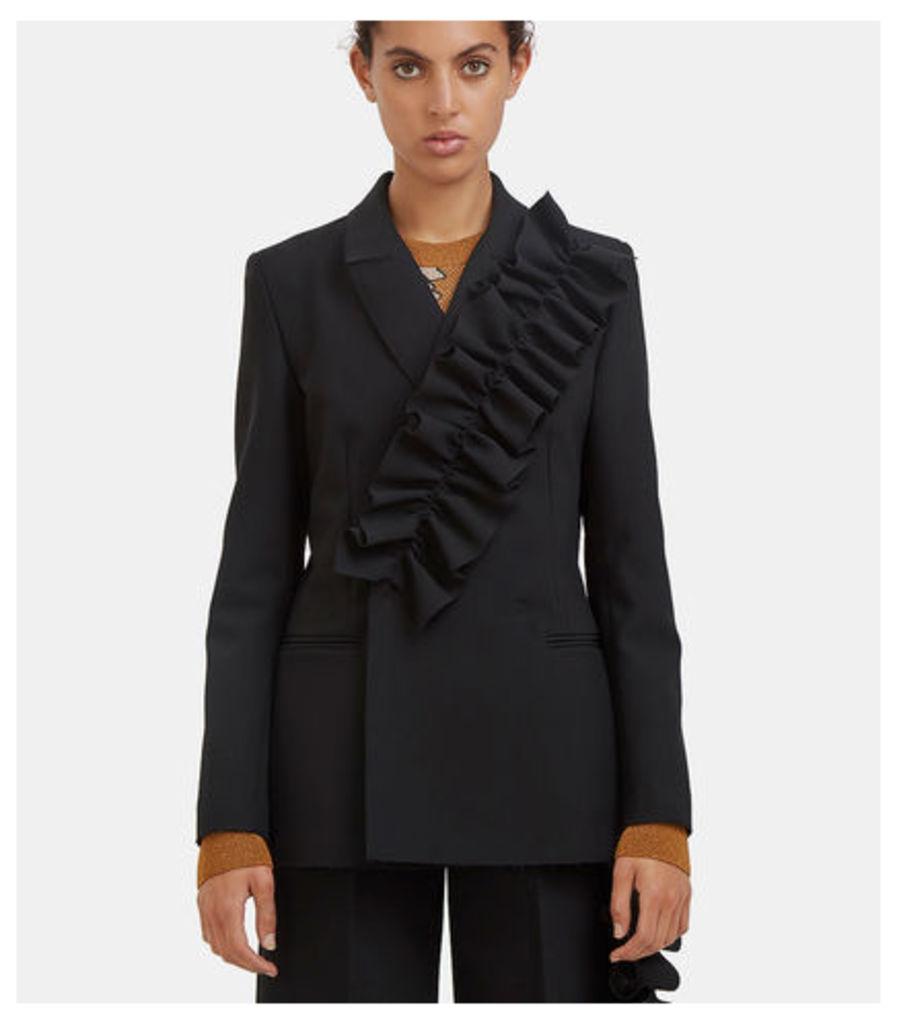 Ruffled Double-Breasted Blazer Jacket