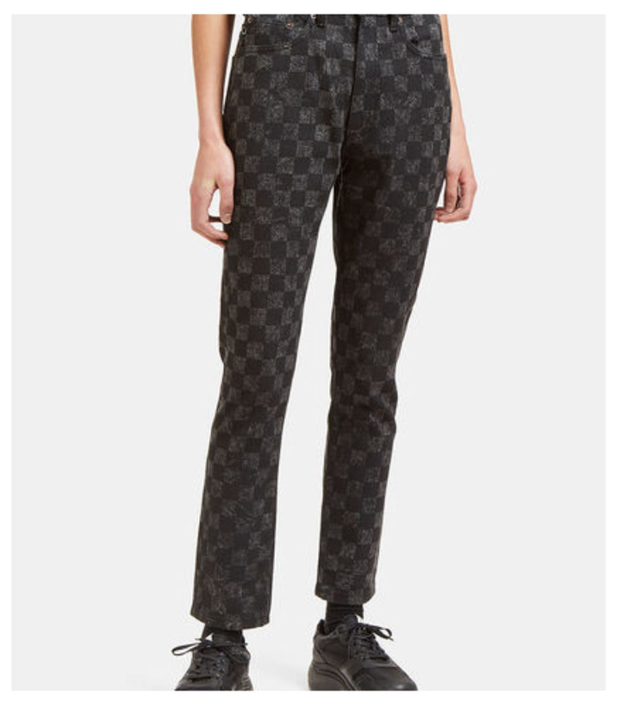 High-Waisted Checked Skinny Jeans