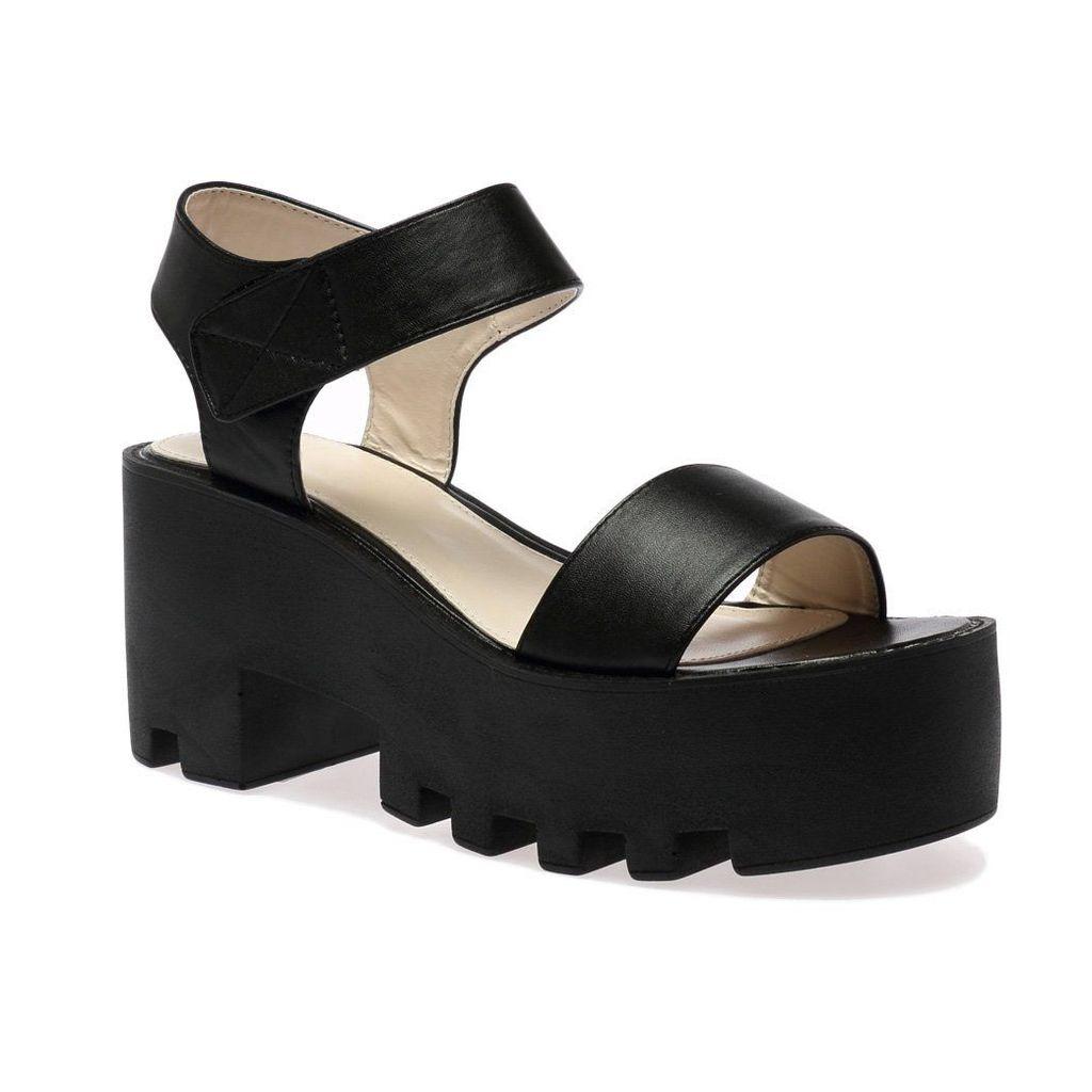 Erika Black Cleated Flatform Sandal, Black