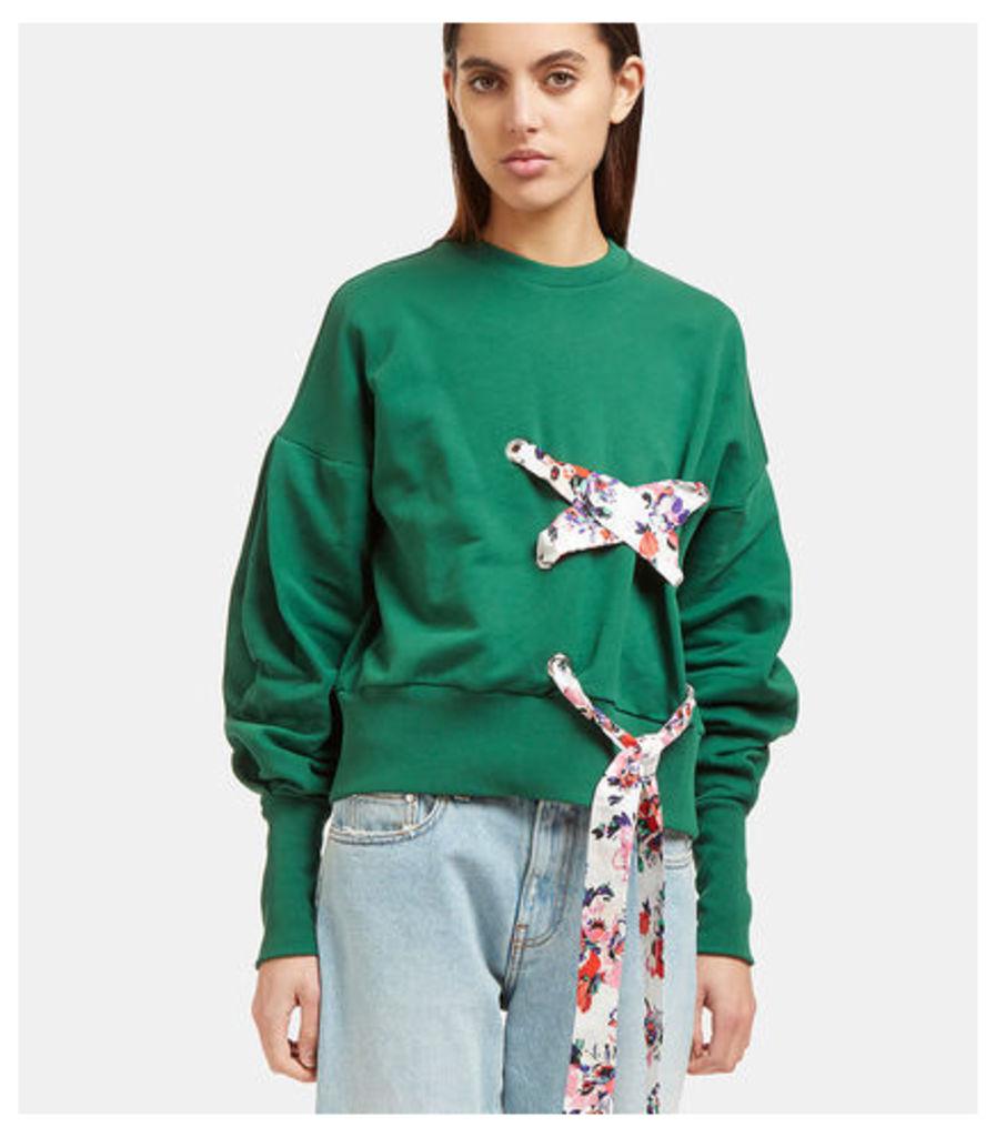 Floral Ribbon Tie Crew Neck Sweater