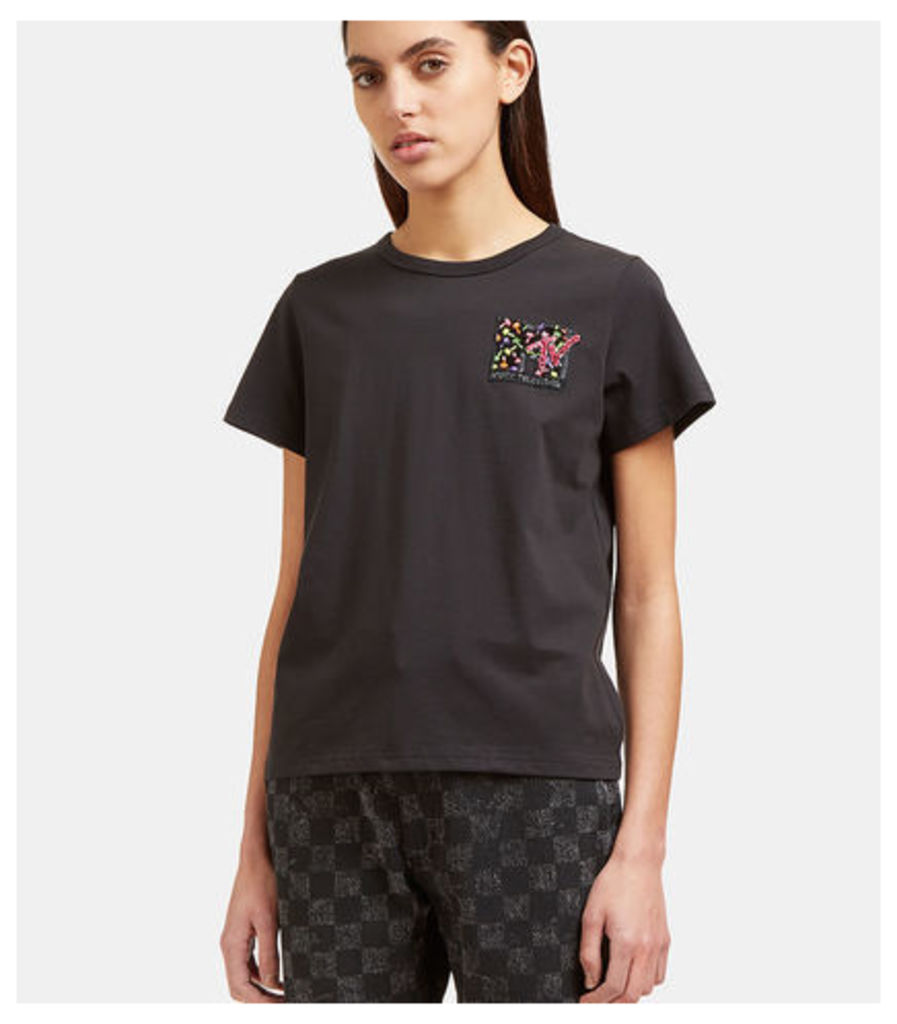 Sequin Embroidered MTV T-Shirt