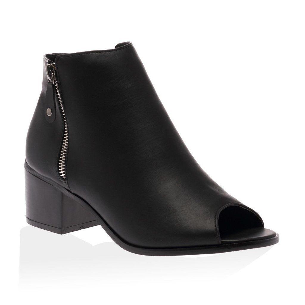 Rylie Black PU Peeptoe Ankle Boot, Black
