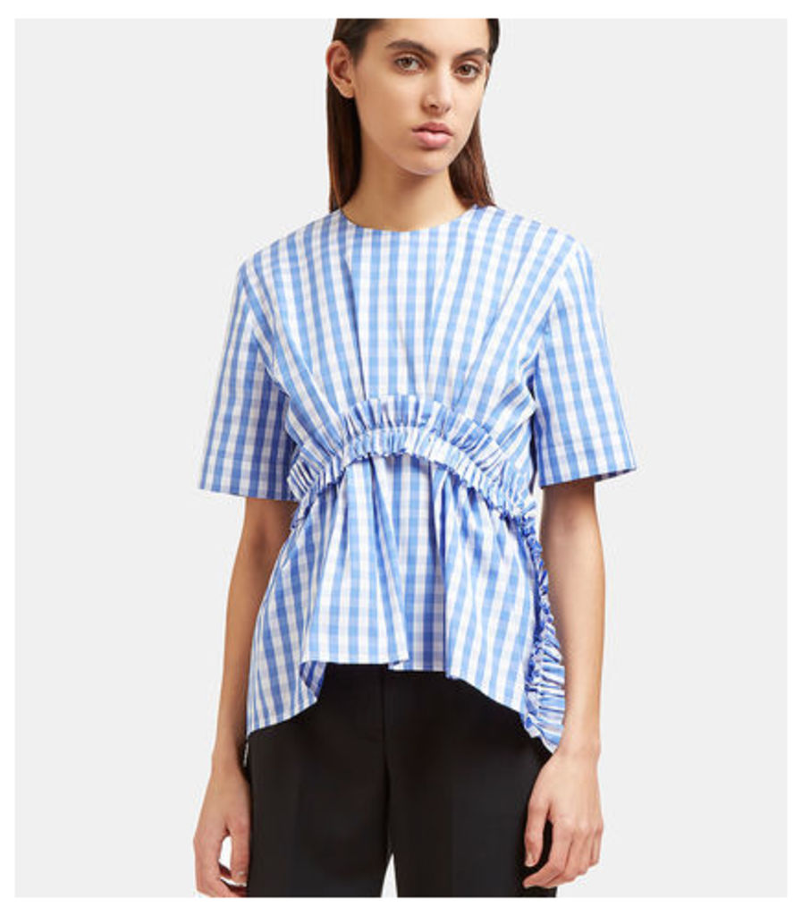Ruched Trim Checked Top