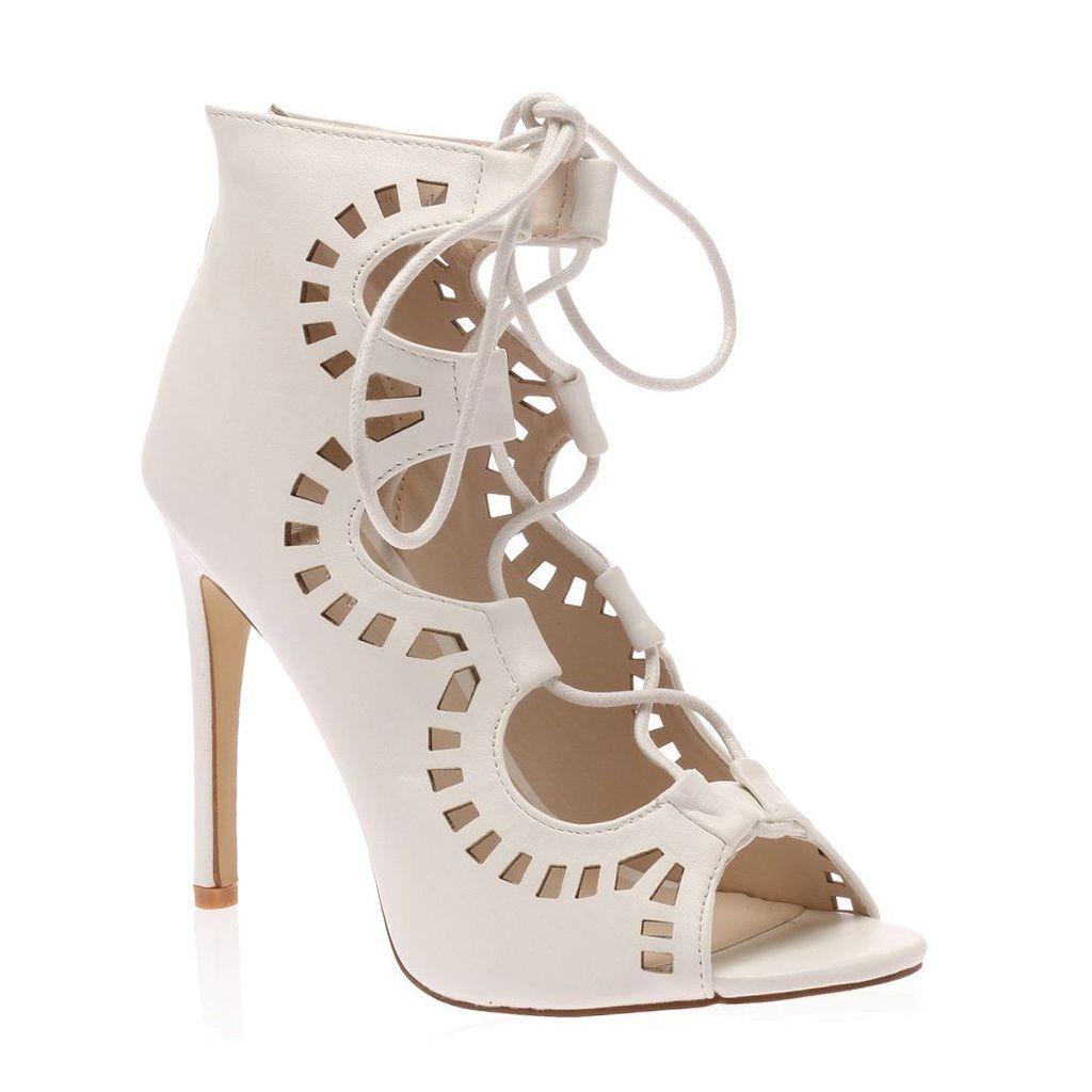 Anais White PU Cut Out Lace Up Heel, White