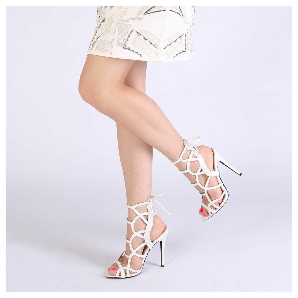 Cynthia Cut Out High Heels in White, White