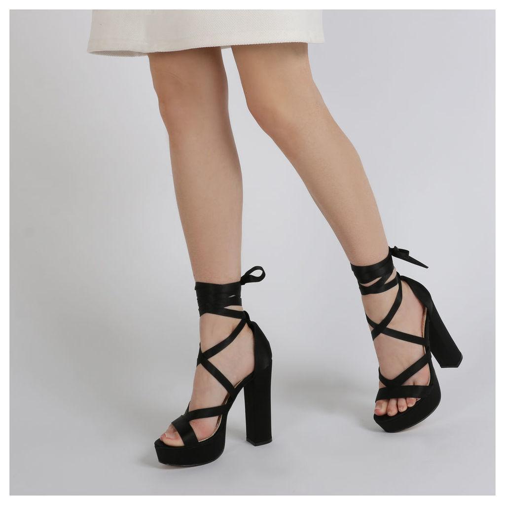 Stella Lace Up Heels in Black Satin, Black