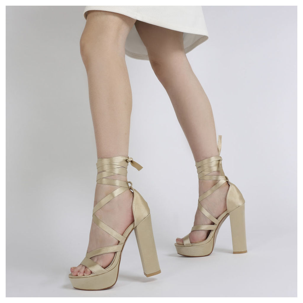 Stella Lace Up Heels in Champagne Satin, Pink