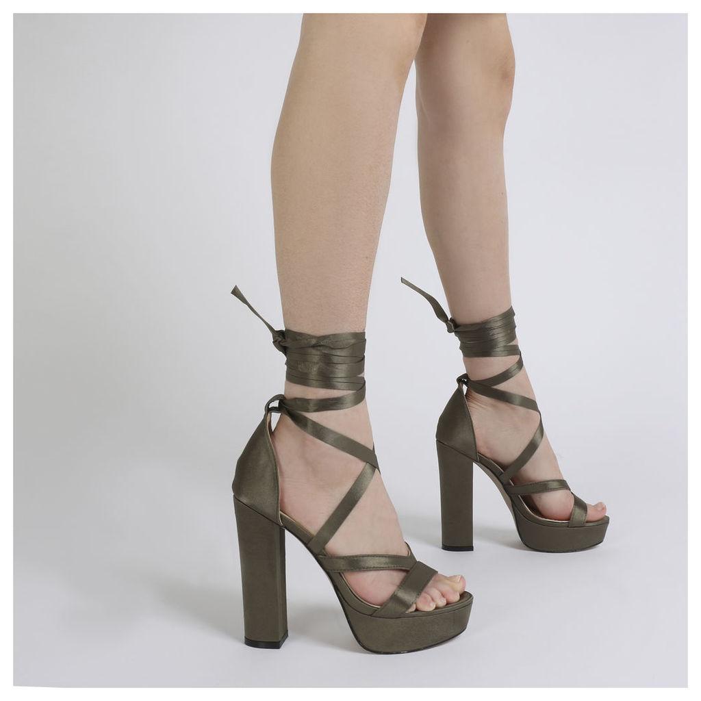 Stella Lace Up Heels in Khaki Satin, Brown