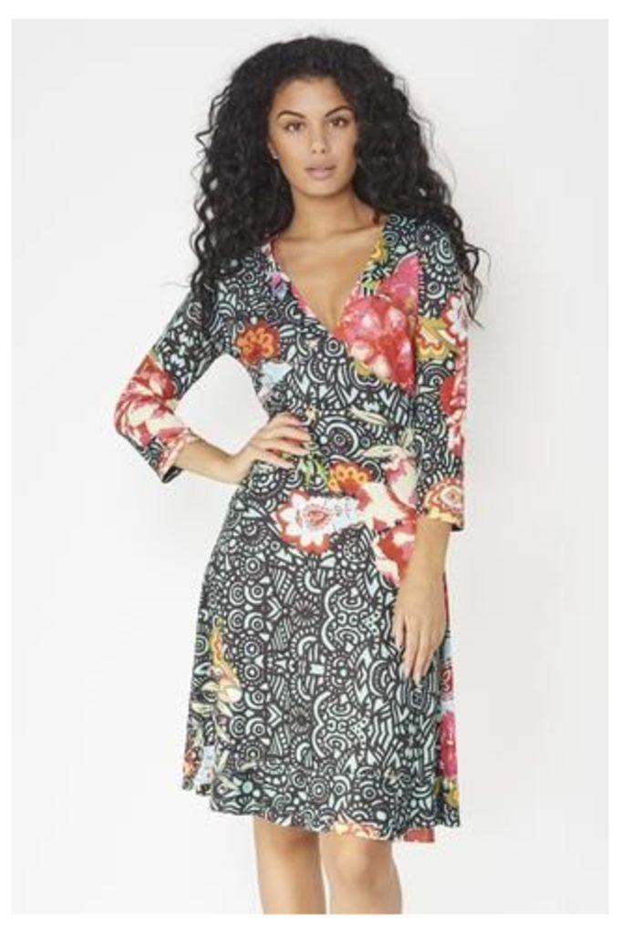 Floral Patterned V-Neck Dress