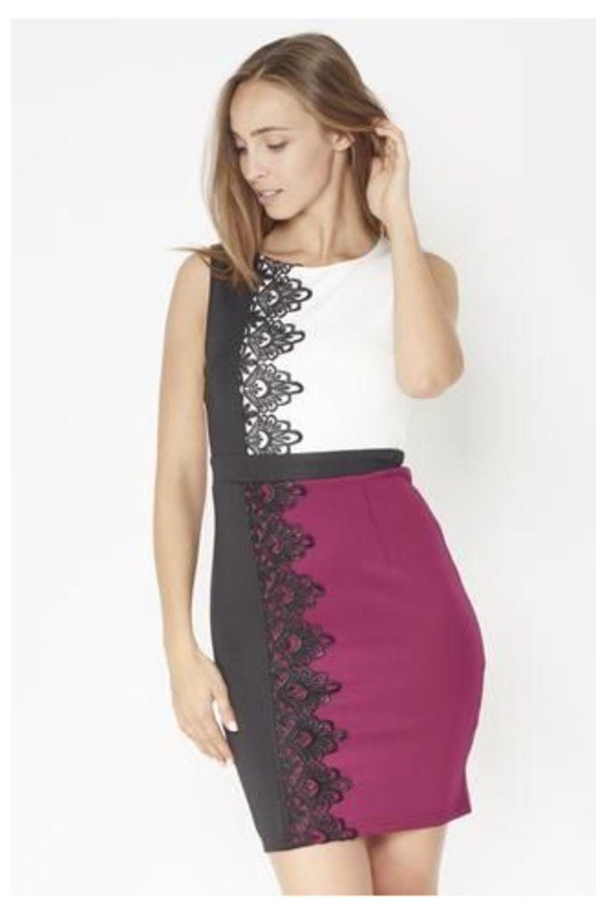 Lace Trim Block Colour Pencil Dress