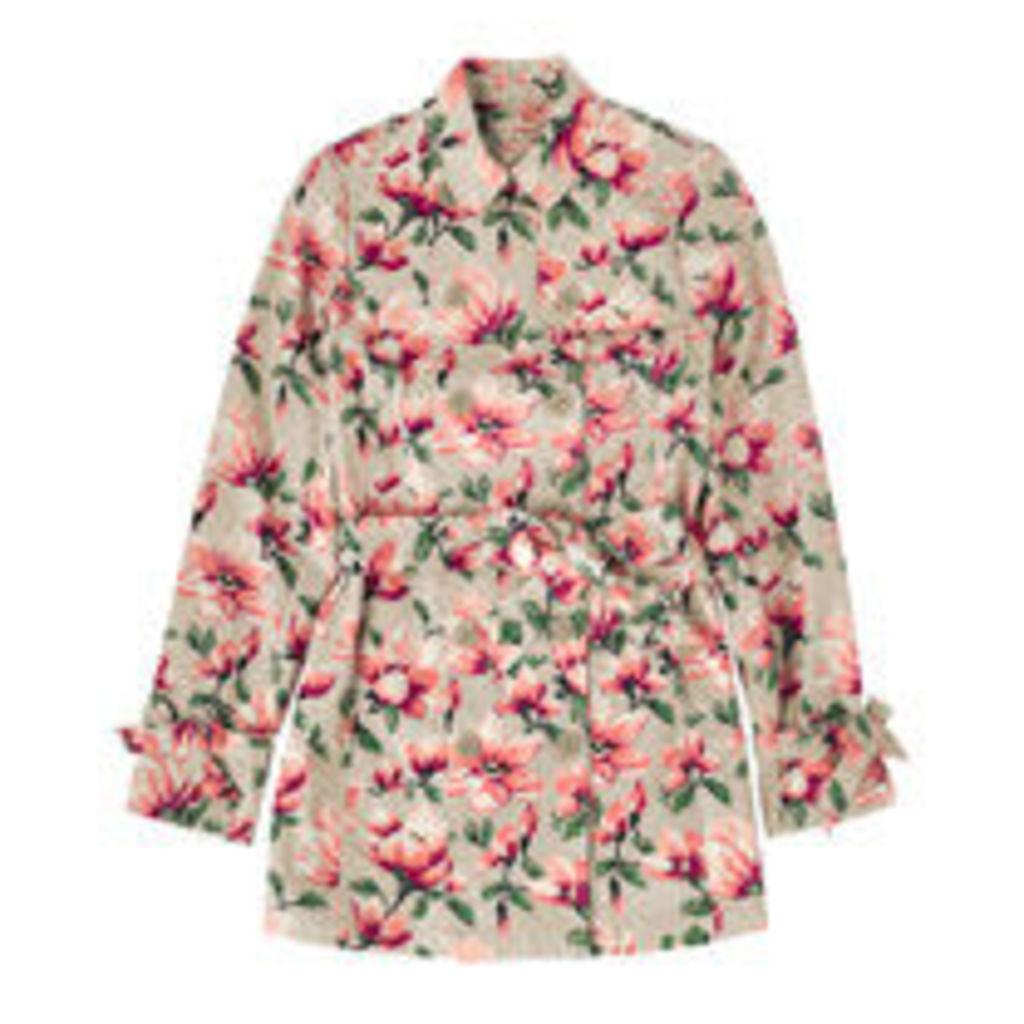 Magnolia Printed Trench Coat