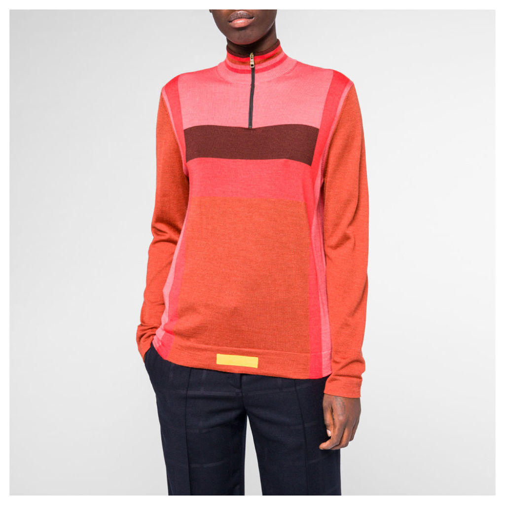 Women's Burnt Orange Colour-Block Wool-Silk Sweater