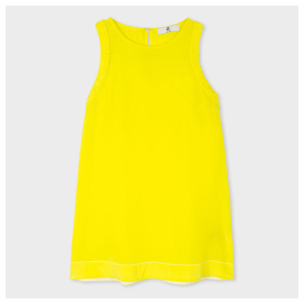 Women's Yellow Silk-Crêpe Sleeveless Top