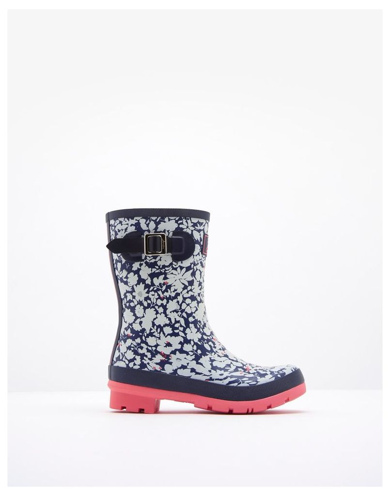 Navy Mara Ditsy Molly Printed Mid-Height Wellies  Size Adult Size 4   Joules UK