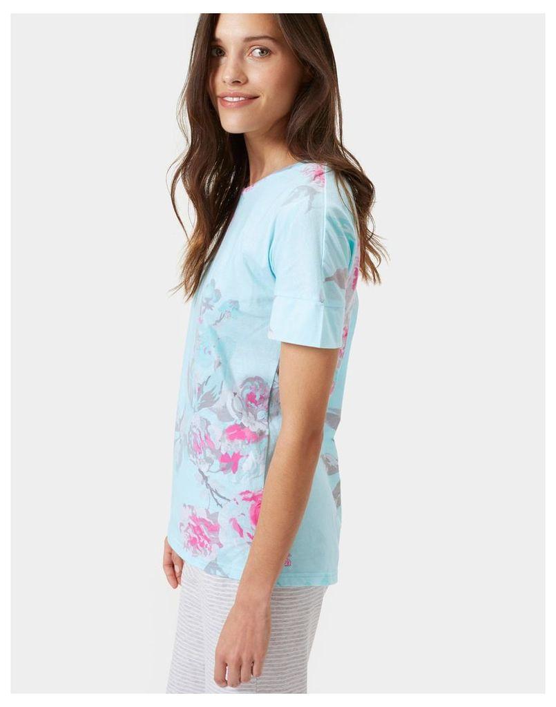 Cool Blue Beau Bloom Jess print Jersey Top  Size 10   Joules UK