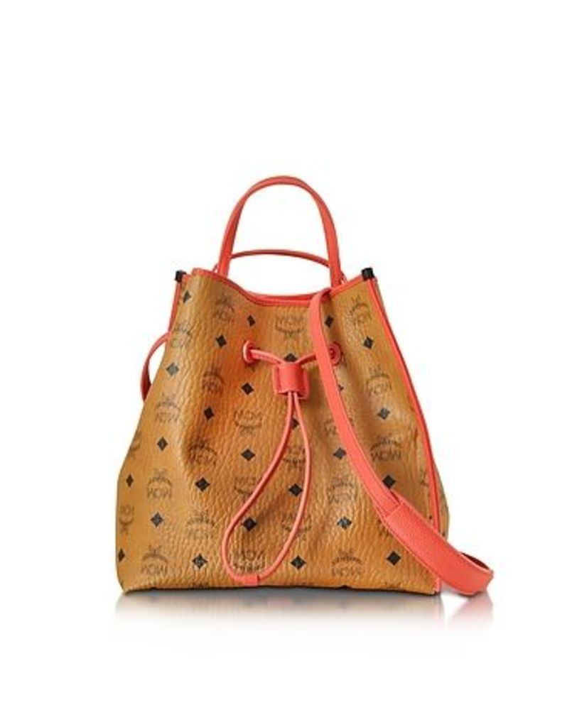 MCM - Kira Visetos Medium Cognac Drawstring Bucket Bag
