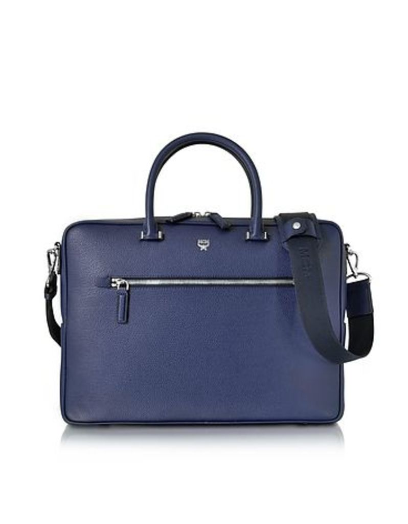 MCM - Pistol Blue Otto Grain Leather Medium Briefcase