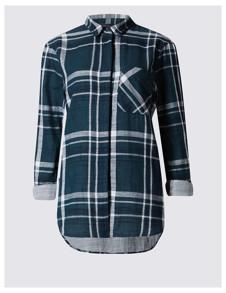 M&S Collection Pure Cotton Checked Long sleeve Shirt