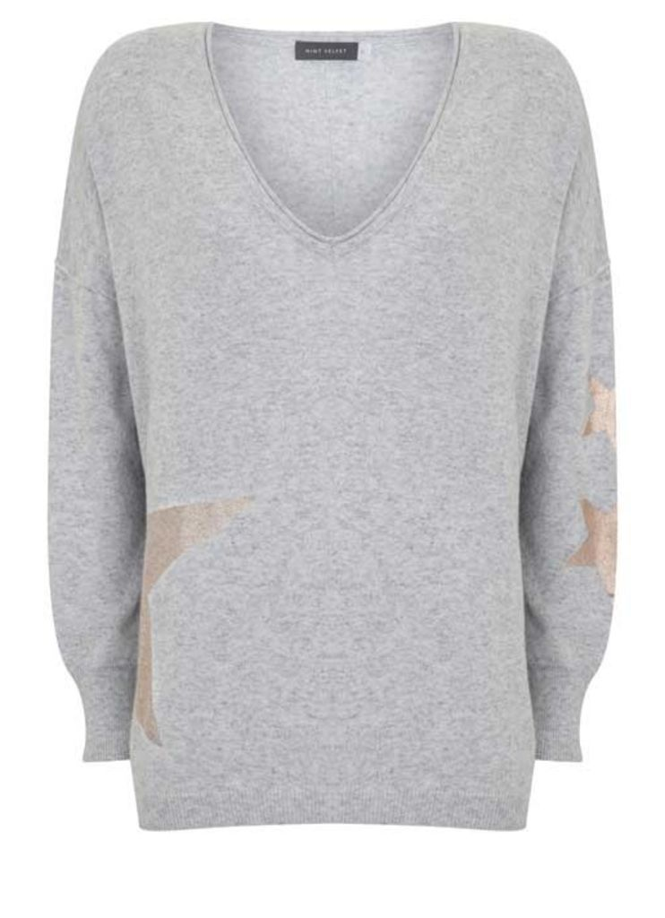 Abstract Foil Print Star Knit