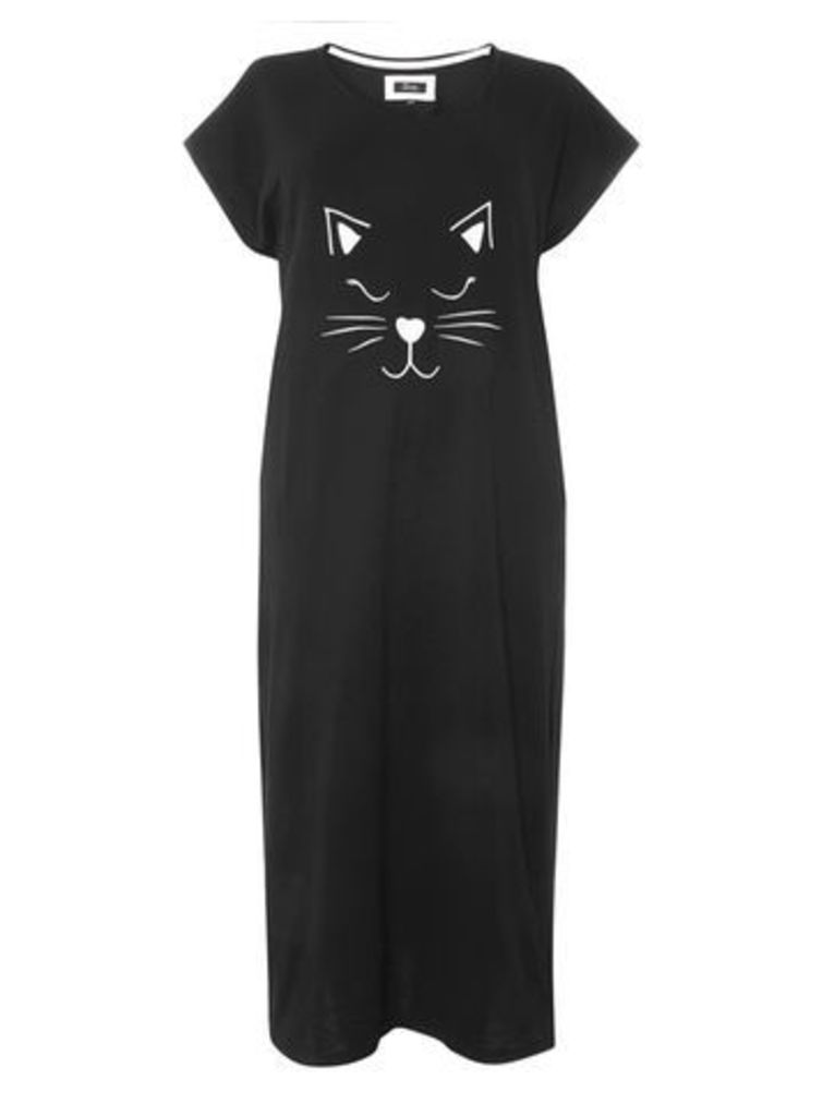 Black Cat Face Long Nightdress, Black