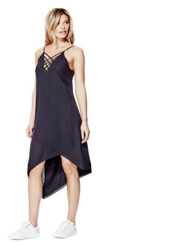 Guess Asymmetric Lace-Up Detail Dress