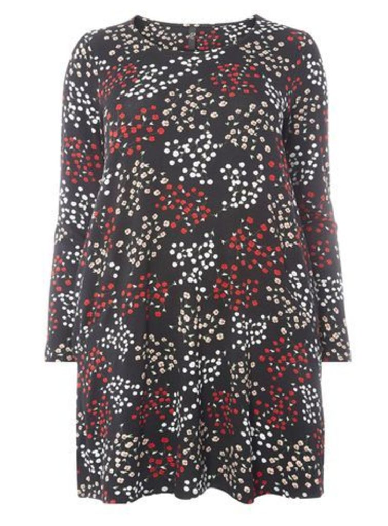 Black Floral Long Sleeve Tunic Top, Dark Multi
