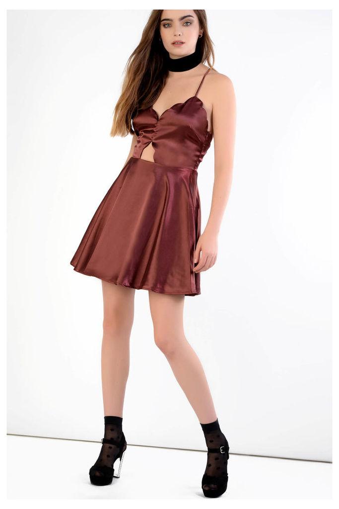Burgundy Scallop Cutout Detail Dress