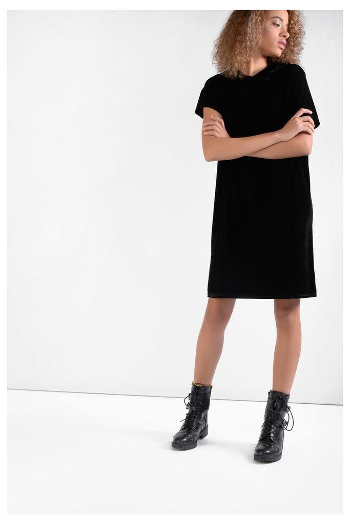 Black Velvet Hooded Shift Dress