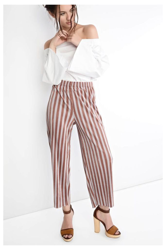 Pink And Grey Stripe Plisse Culottes