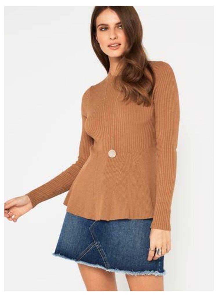 Womens Camel Long Sleeve Godet Peplum Knitted Top, Camel