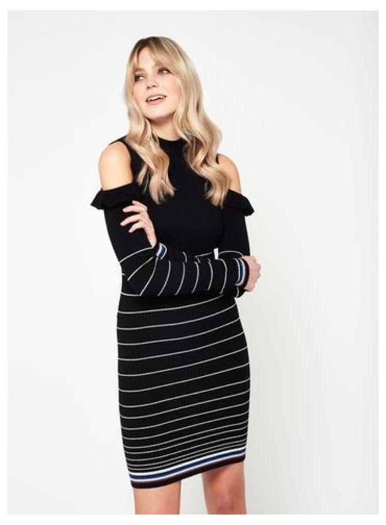 Womens Cold Shoulder Frill Stripe Knitted Dress, Black
