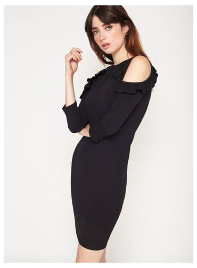 Womens Black Cold Shoulder Dress, Black