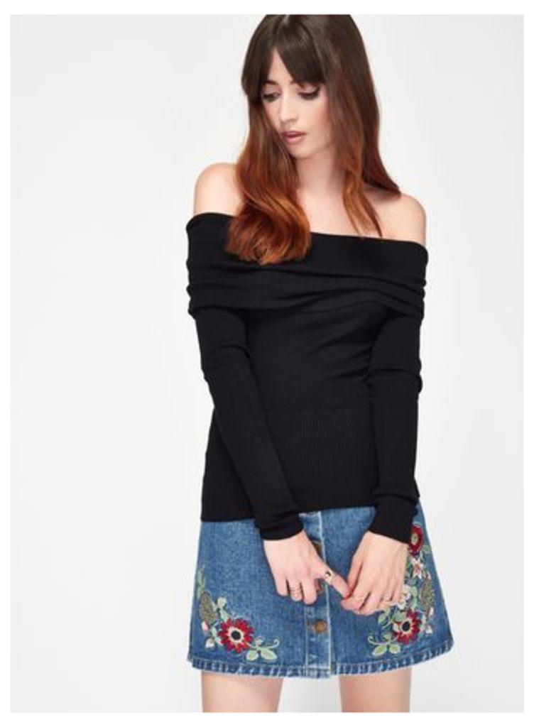 Womens Black Deep Bardot Rib Knitted Top, black