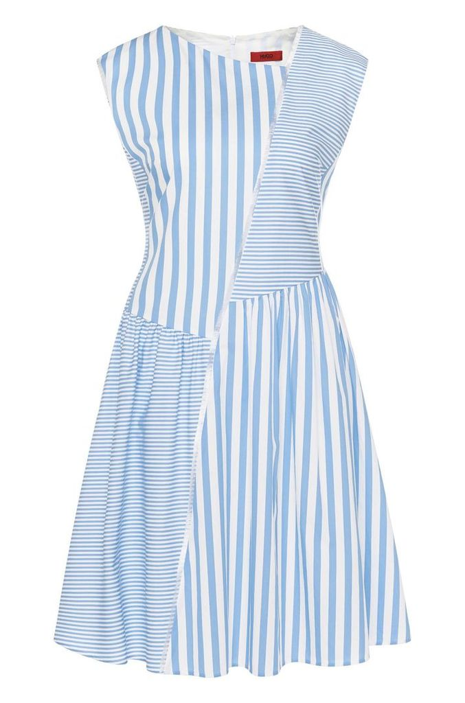 Striped dress in cotton with fringed trim: `Kanah`