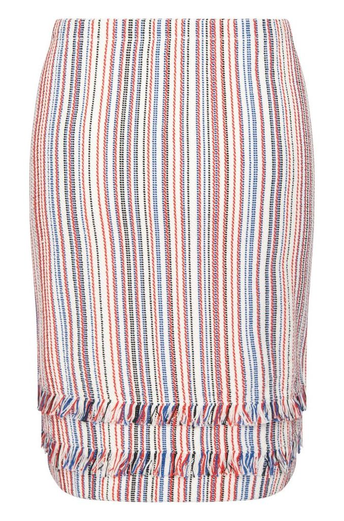 Striped skirt in cotton blend with short fringes: `Fabienne`