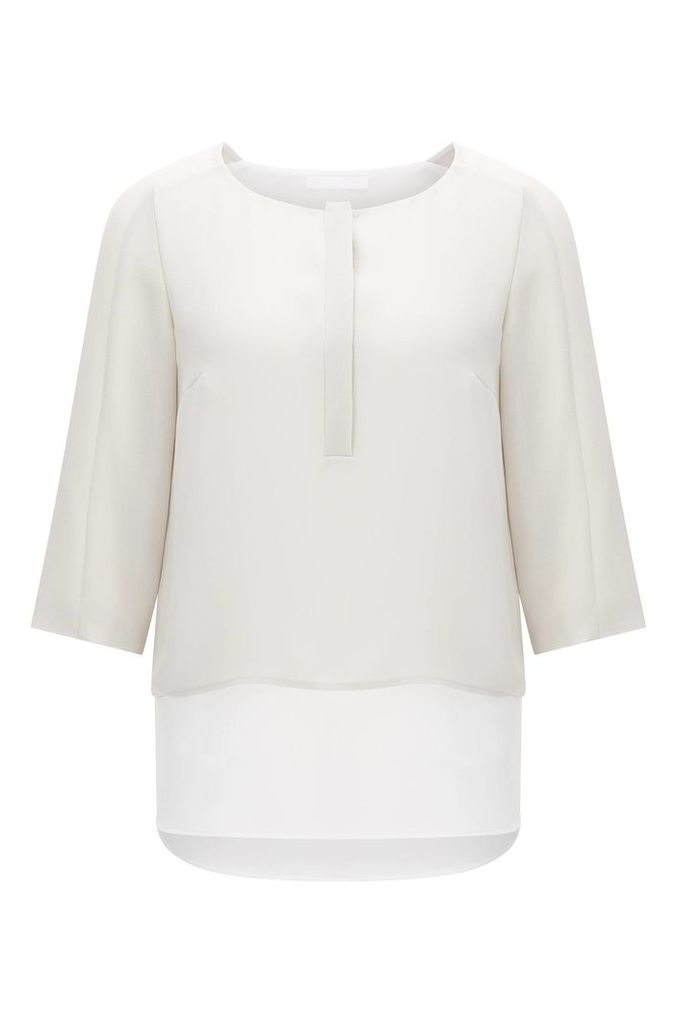 Layered-look blouse in material blend: `Baliana`
