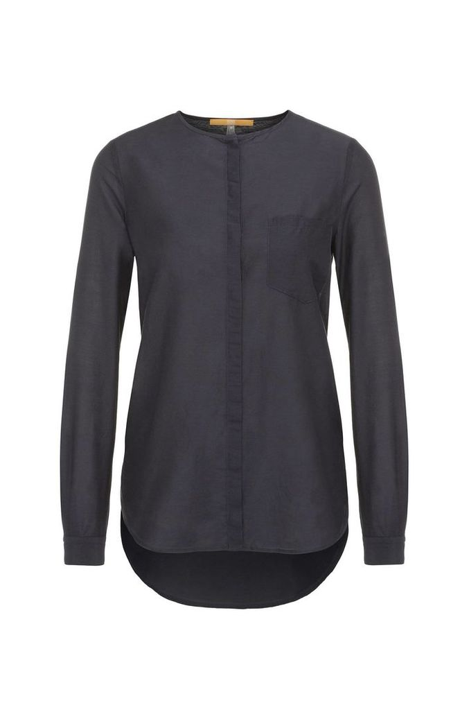 Regular-fit blouse in cotton and silk: `Eflo`