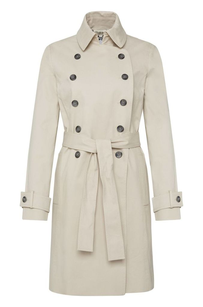 Coat in stretch cotton with double-breasted button placket: `Cirala`