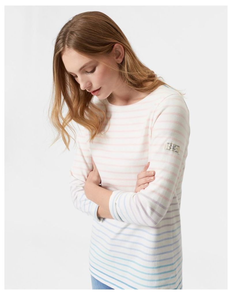 Cream Ombre Stripe Harbour Jersey Top  Size 16   Joules UK