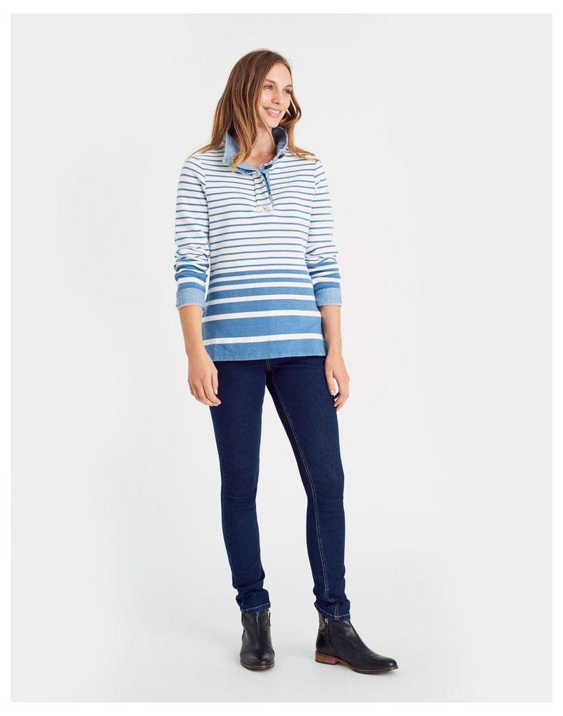 Light Indigo Ombre Cowdray Funnel Neck Saltwash Sweatshirt  Size 20   Joules UK