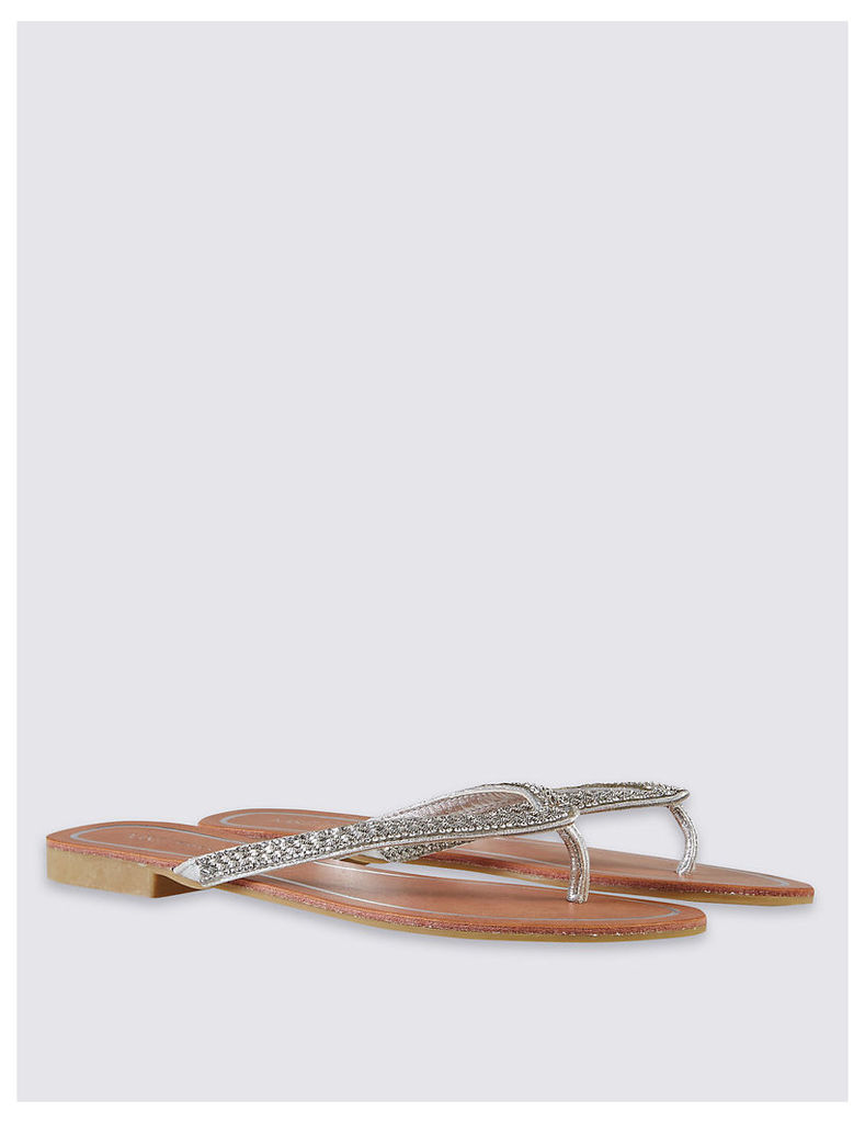 M&S Collection Skinny Diamante Flip Flop Slippers