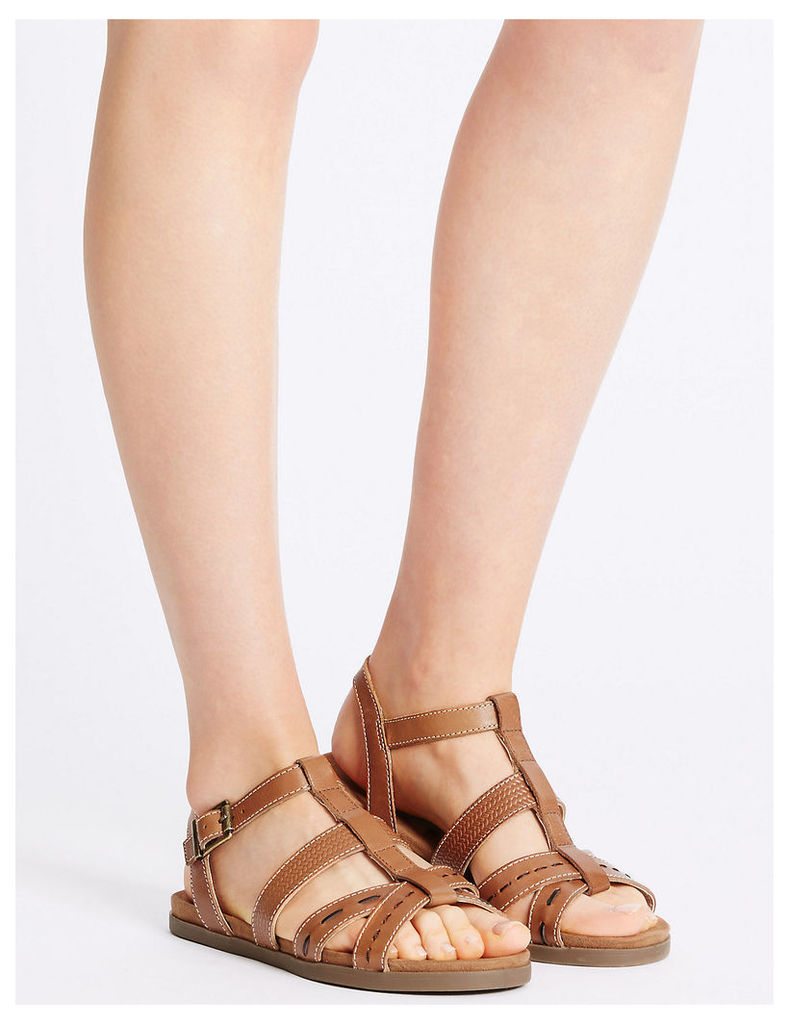 Footglove Leather Embossed Sandals with Footglove