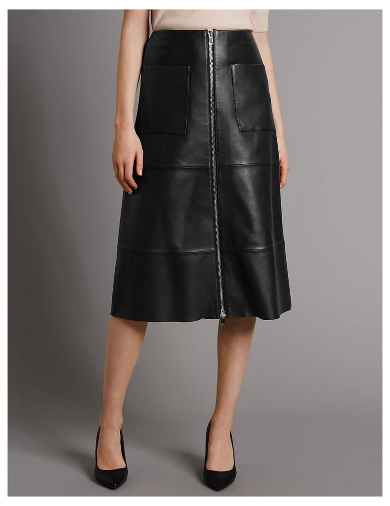 Autograph Pure Leather A-Line Skirt