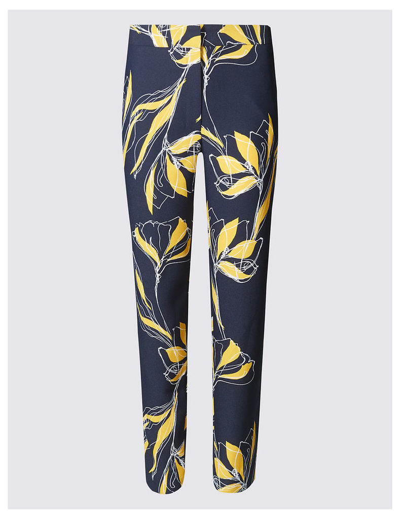 M&S Collection Floral Print Tapered Leg Trousers