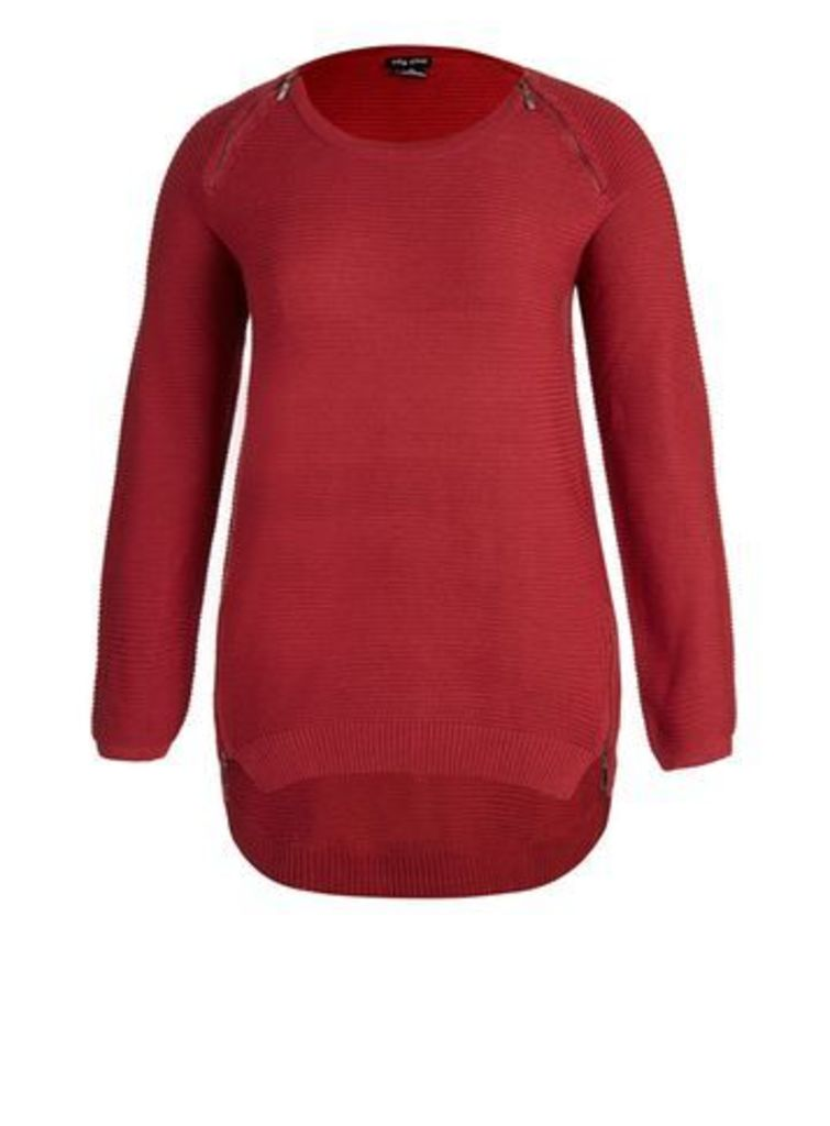 City Chic Red Zip Front Jumper, Red