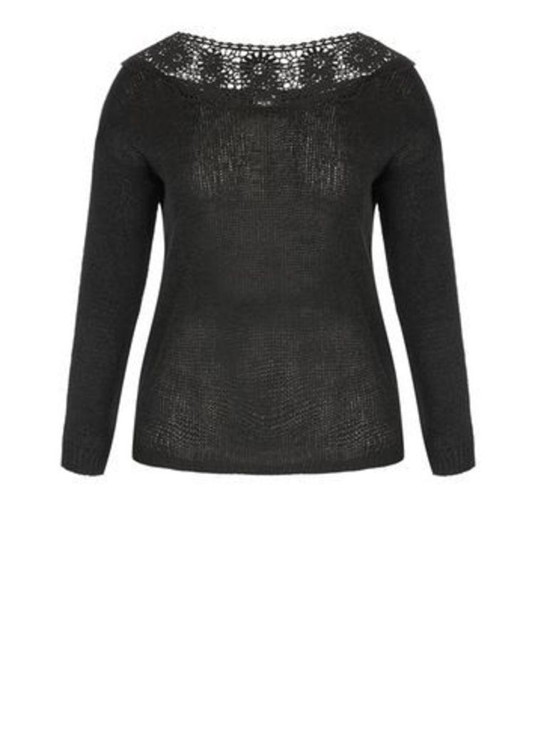 City Chic Black Lace Crochet Jumper, Black