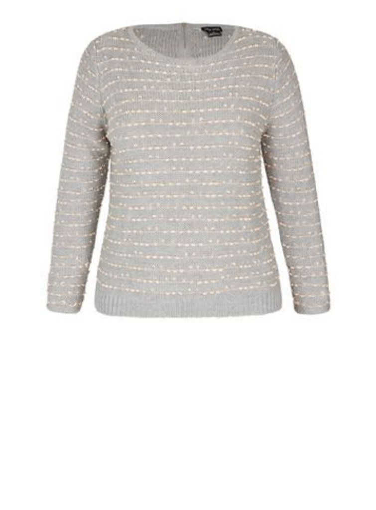 City Chic Grey And Coral Zip Jumper, Coral